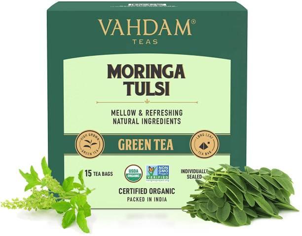 Vahdam Moringa Tulsi | Pure & Refreshing Tulsi Green Tea Bags Box
