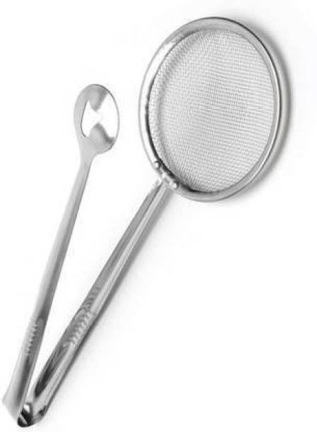 Demettr Multi-Functional 2 in 1 Fry Tool Filter Spoon Strainer with Clip Deep Frying Basket (Silver Pack of 1) Demettre Multi-Functional 2 in 1 Fry Tool Filter Spoon Strainer with Clip Deep Frying Basket (Silver Pack of 2) 20 cm NA Tong Set