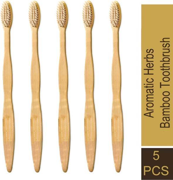 Aromatic Herbs 100% biodegradable bamboo Toothbrush  with soft bristle - Medium Toothbrush