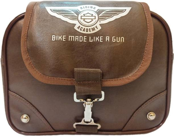 Goldline Stylish Riding Academy Bike Bag/Motorcycle Seat Pack Bag Side Bag/8L Storage Motorcycle Saddlebag/Leatherette & Water Resistant Portable Very Small Adventure Bike Bag (30 x 9 x 23 Cm) Saddle Bag Brown Leatherette Motorbike Saddlebag