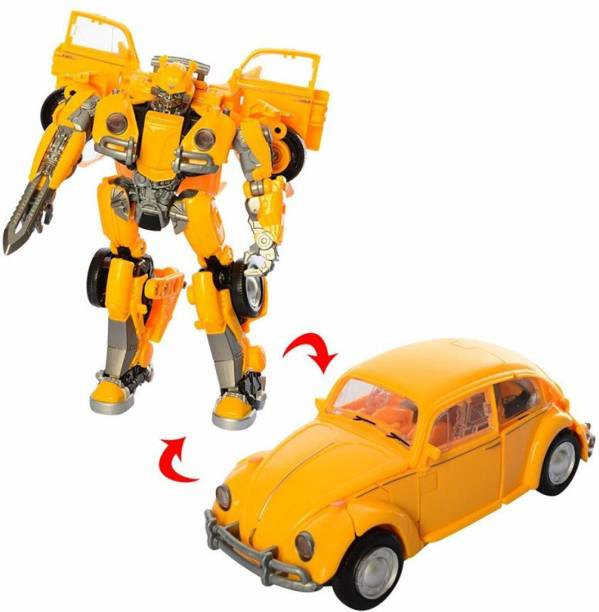 Smartcraft Manual Transformer Car, Transforming Deformation Yellow Bug Converting Action Figure Toy