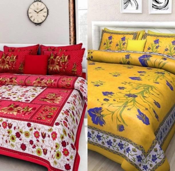 KAANY FAB 180 TC Cotton Double Jaipuri Prints Bedsheet