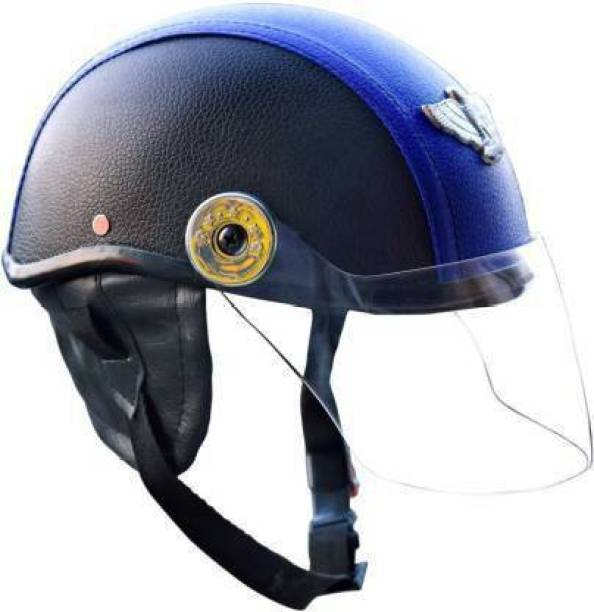FDS LEATHER CAP UNISEX Motorbike Helmet Blue Motorbike Helmet