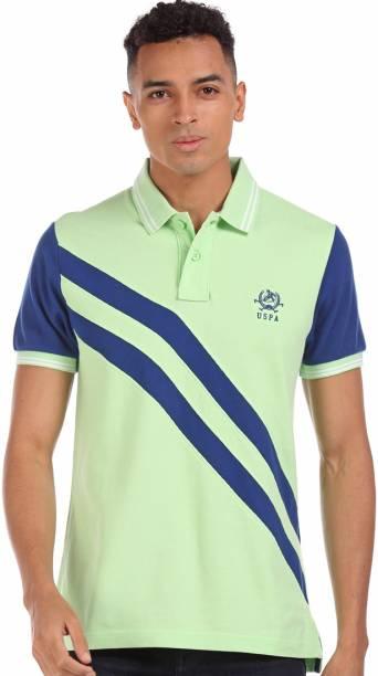 U.S. POLO ASSN. Solid Men Polo Neck Green T-Shirt