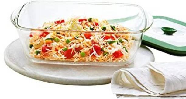 BOROSIL Rectangular Glass Dish with Lid, 2.6 litres, Transparent Glass Dessert Bowl