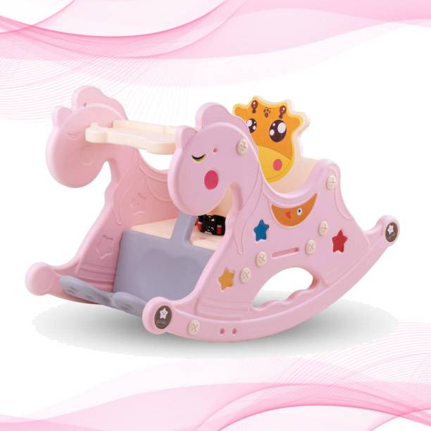 GoodLuck Baybee Baby Rocking Horse for Kids/Baby Chair for Kids|Plastic Horse Ride-on Toy for Kids- Baby Rocking Table Chair for Kids Indoors & Outdoors for 12 Months-3 Years Boys and Girls- Pink Rocker