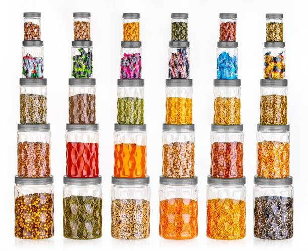 StorEasy 30 Piece grocery container set  - 2000 ml, 1200 ml, 650 ml, 350 ml, 250 ml Plastic Grocery Container