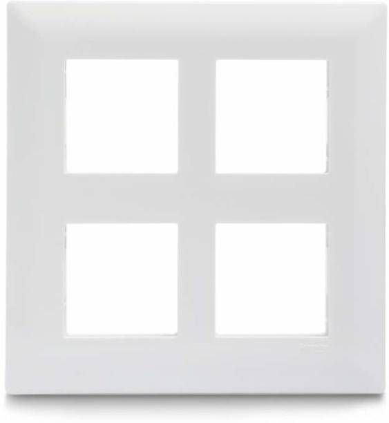 Schneider Electric Livia-8 Module Grid & 8 Module Cover Frame - Square - White (Pack of 5) Wall Plate