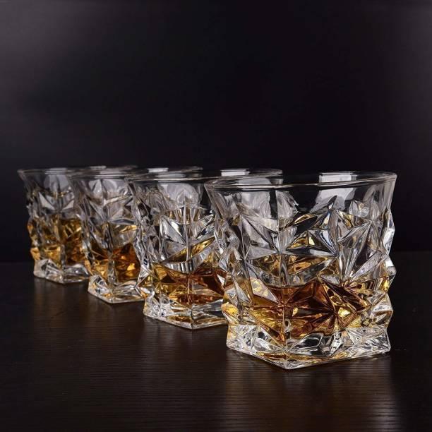 OSWORLD (Pack of 4) Diamond Design Crystal Cut Whiskey Glass Set (300 ml) (4) Glass Set