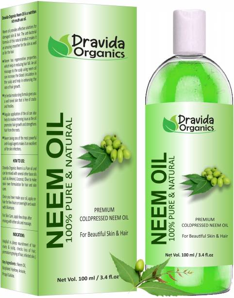 Dravida Organics Neem Carrier Oil (100ML) Pure Natural For Skin care & Hair Oil