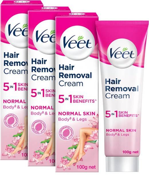 Veet Silk and Fresh Normal Skin Hair Removal Cream 100g Pack of 3 Cream