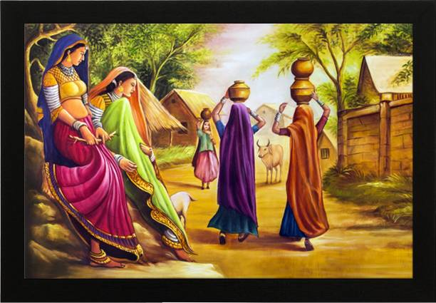 Masstone Rajasthani Panihari Village Theme UV Coated Matt textured Framed Digital Reprint 14 inch x 20 inch Painting
