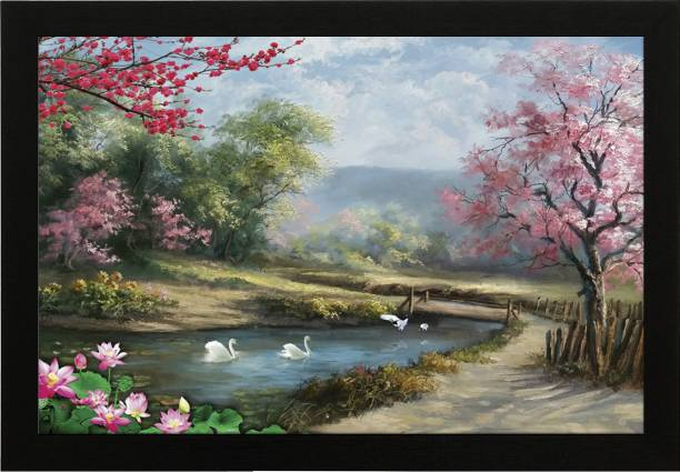 Masstone Beautiful Landscape Natural Scene UV Coated Matt textured Framed Digital Reprint 14 inch x 20 inch Painting