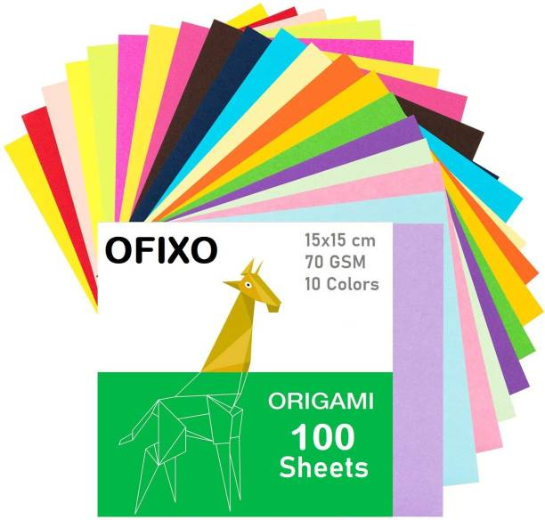 OFIXO 100pcs DIY Square Origami Paper Double Sides Solid Color Folding Paper Multicolor Kids Handmade Scrapbooking Craft Accessories Unruled 15*15 70 gsm Origami Paper
