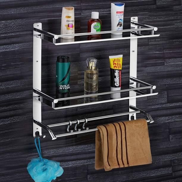 Galeriya by TECO by Multi use Rack Stainless Steel Bathroom Shelf/Kitchen Shelf/Bathroom Shelf and Rack/Bathroom Accessories Stainless Steel Wall Shelf (Number of Shelves - 2, Steel) Silver Towel Holder