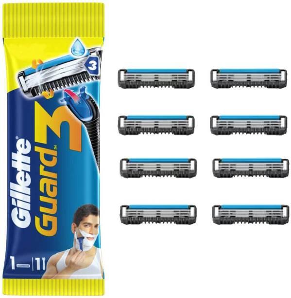 GILLETTE Guard 3 Shaving Combo (1N Razor + 8N Cartridges)