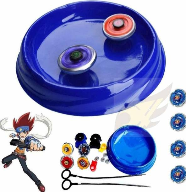 Authfort New 4 in 1 Metal Beyb Toy Set with Stadium and 2 Launchers (4 Beyblade )