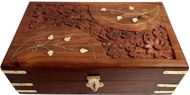 SZHC WOODEN MAKEUP AND JEWELLERY BOX / STORAGE BOX JEWELLERY BOX Vanity Box (Brown) Jewellery, Makeup Vanity Box