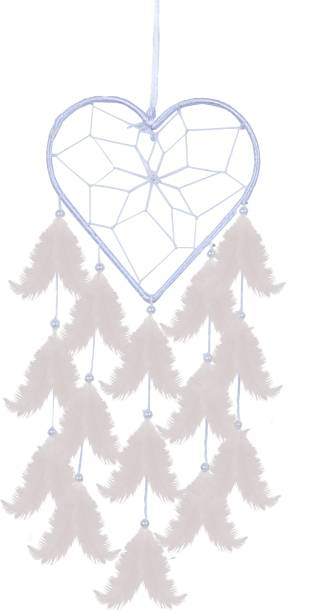 Ryme Heart Shape White Car And Wall Hanging Dream Catcher Feather Dream Catcher