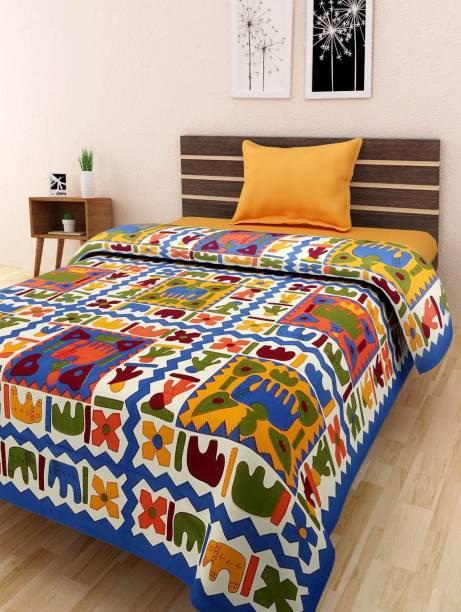 UNIQCHOICE 120 TC Cotton Single Floral Bedsheet