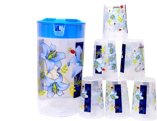 THE PRINT HUB Dreamz Blue Jug Glass Set With 1 Jug And 6 Glasses Jug Glass Set