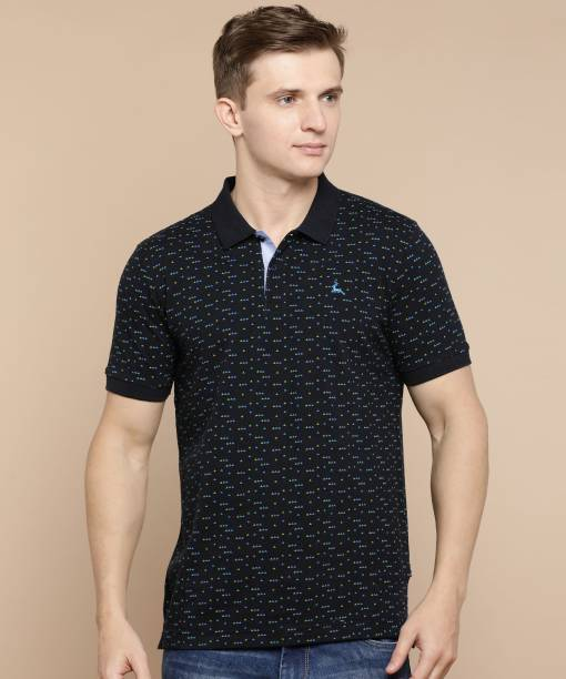 PARX Printed Men Polo Neck Black T-Shirt