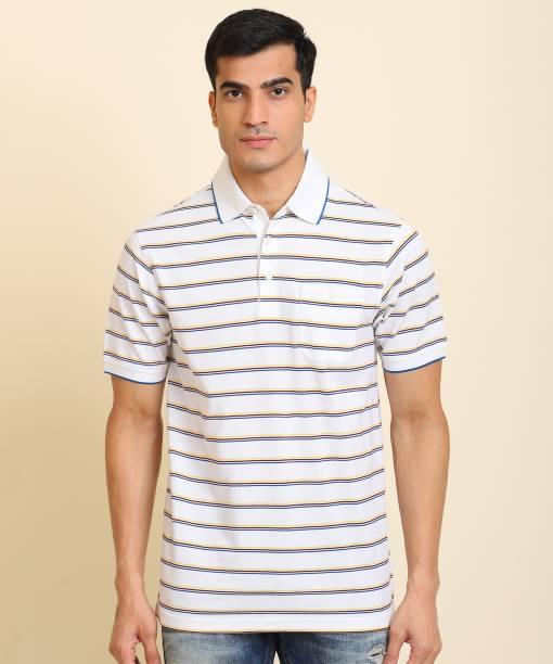Raymond Striped Men Polo Neck White T-Shirt