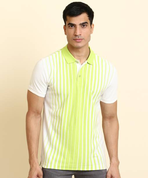 United Colors of Benetton Striped Men Polo Neck White, Green T-Shirt