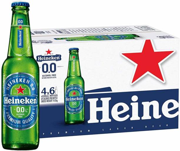 Heineken 0.0 % Non Alcoholic Beer - Zero Dot Zero 330ml Case Pack Bottle, 24 Bottles X 330 ml Glass Bottle