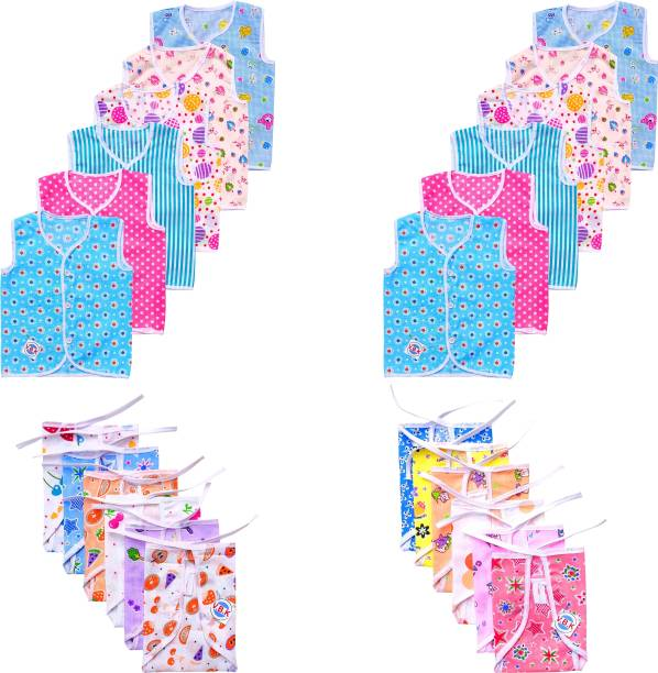V.B.K Baby Care Essential Combo Pack, Cotton Soft Fabric, 0 to 6 Months, All Random Print and Design