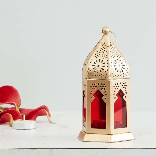 Heaven Decor Decorative Hanging Morrocan Lantern/Table Top Red Iron Table Lantern