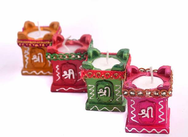 RHYTHM GIFT4U Rhythm Gifts Tulsi Diya Candle | Clay & Terracotta Diya for All Kind of Festival Diwali/Navratri | Colourful Hand Painted Puja Pooja Diya | Home Decoration (Multicolor) (PCS of 4) Candle