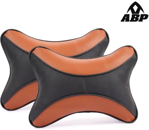 ABP Black, Orange Leatherite Car Pillow Cushion for Universal For Car