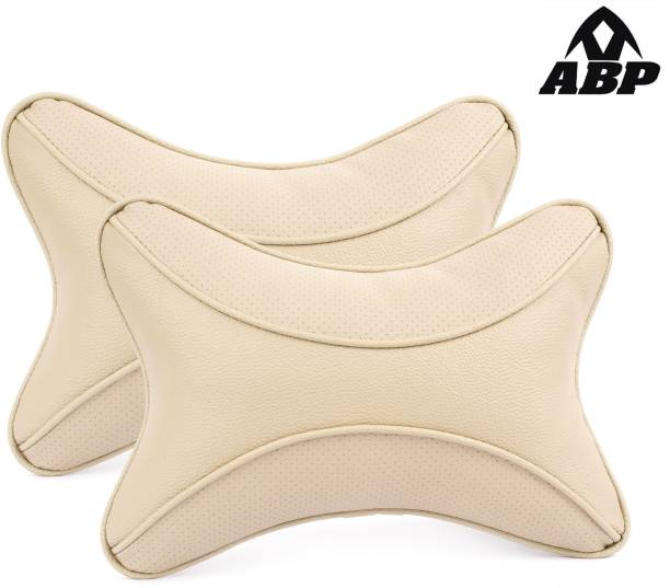 ABP Beige Leatherite Car Pillow Cushion for Universal For Car