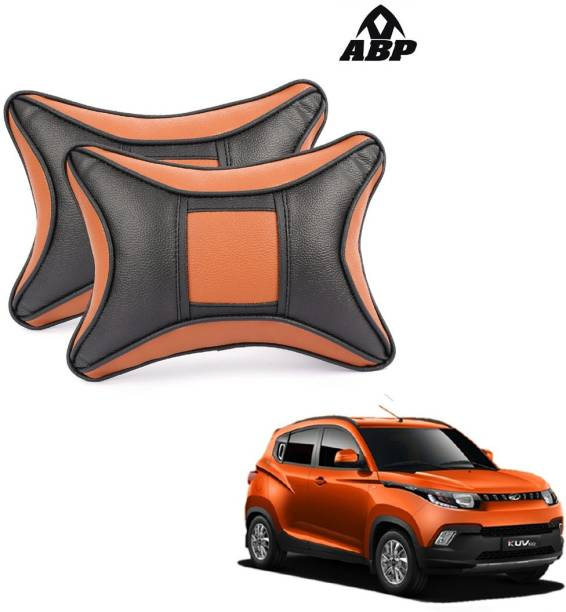 ABP Orange, Black Leatherite Car Pillow Cushion for Mahindra
