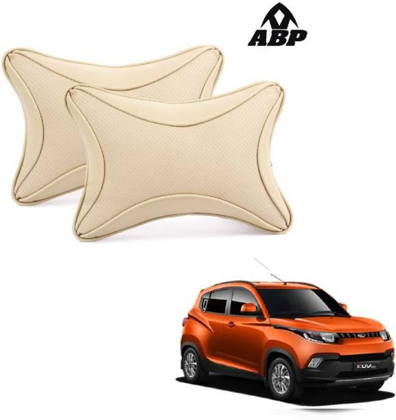ABP Beige Leatherite Car Pillow Cushion for Mahindra