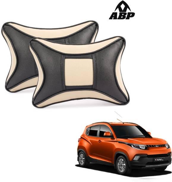 ABP Beige, Black Leatherite Car Pillow Cushion for Mahindra