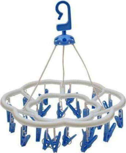 RJ Rojeno Plastic Round Cloth Drying Stand Hanger with 24 Clips/pegs, Baby Clothes Hanger Stand, (Set of 1) Plastic Hanger