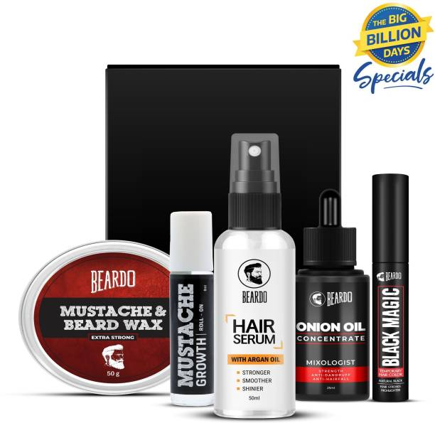 BEARDO Beard & Mustache Extra Strong Wax with Onion Oil, Hair Serum, Mustache Growth Roll On and Black Magic Temporary Hair Color (Natural Black) Combo