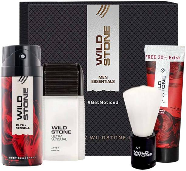 Wild Stone Gift Box with Ultra Sensual After Shave Lotion 50ml, Deodorant 150ml, Shaving Cream 78gm and Brush