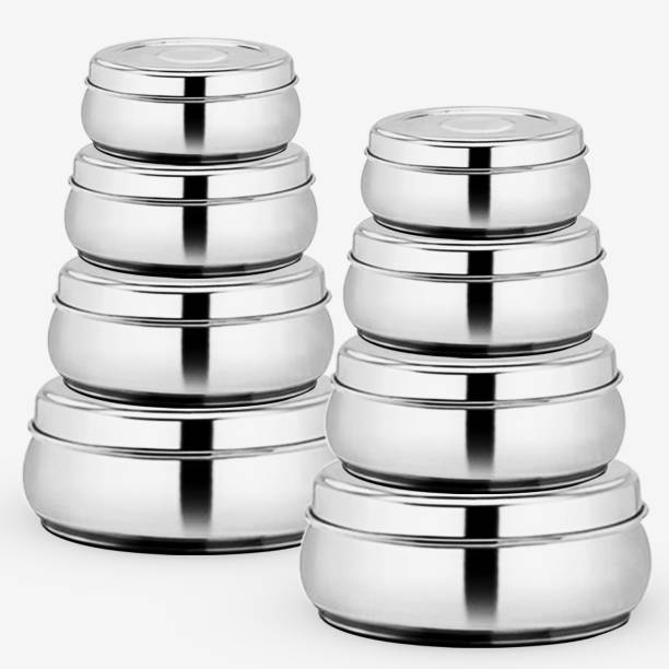 WIBSIL WIBSIL STAINLESS STEEL STORAGE CONTAINER 8 PCS SET  - 3300 ml Steel Grocery Container