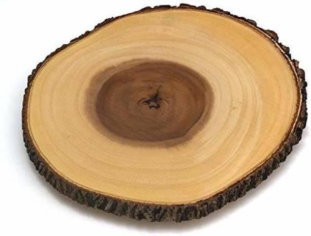 Smartcraft Wooden Platter with Knife, Handmade Wooden Long Platter with Handle for Serving Snacks, Starters, Salads, Fruits- Brown Wood Decorative Platter
