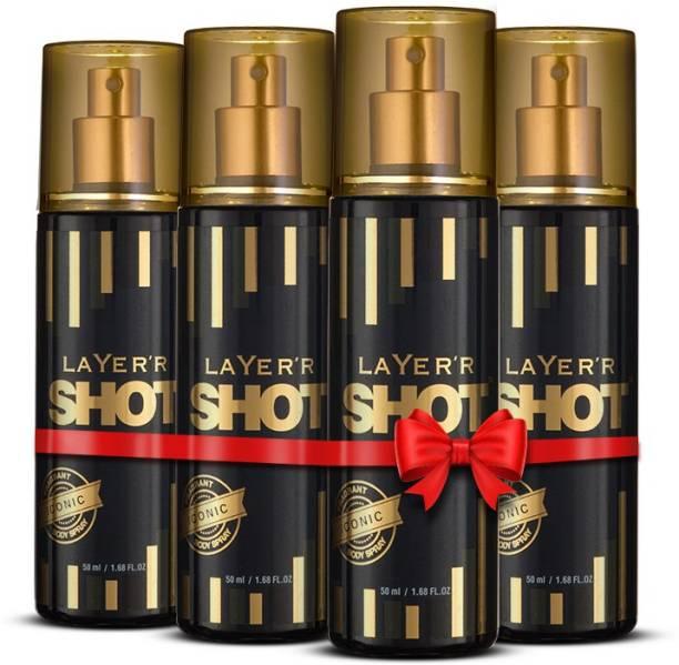 LAYER'R Shot Gold Perfume Deodorant Spray , Iconic, 50ml X 4 ( Pack of 4) Deodorant Spray  -  For Men & Women