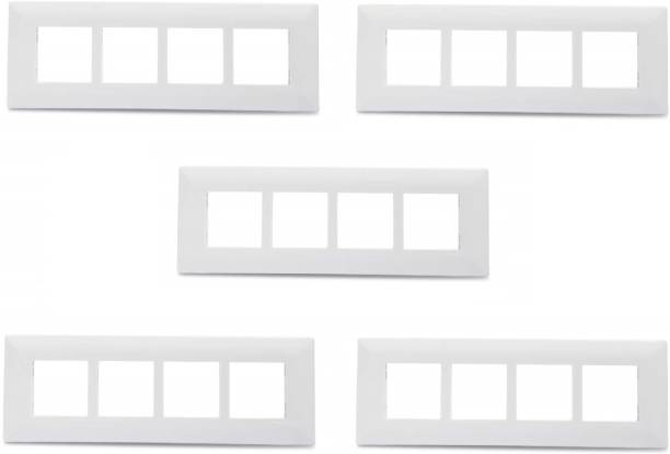 Schneider Electric Livia-8 Module Grid & 8 Module Cover Frame - Linear - White(Pack of 5) Wall Plate (White) Wall Plate