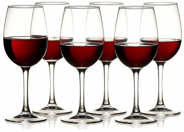 BRIGHTLIGHT (Pack of 6) Red and White Party Glass Wine Glass - 6 Pieces Set ,400 ml Glass Set