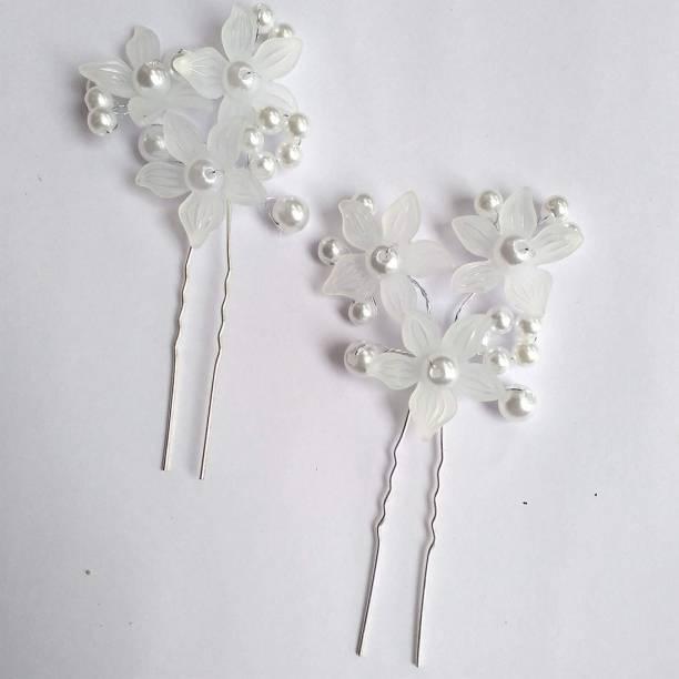 VinshBond Pack of 2, Flower Bridal Hair Juda Pins for Womens / Girls, Silver color Back Pin