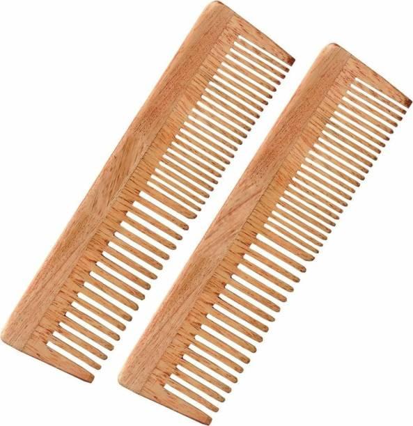 Leyden Organic Handmade Neem Wood Broad Tooth Anti-Dandruff Comb For Men And Women (2 PIECE)