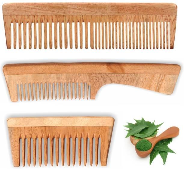 Leyden Organic Handmade Neem Wood Broad Tooth Anti-Dandruff Comb For Men And Women (3 PIECE COMBO)