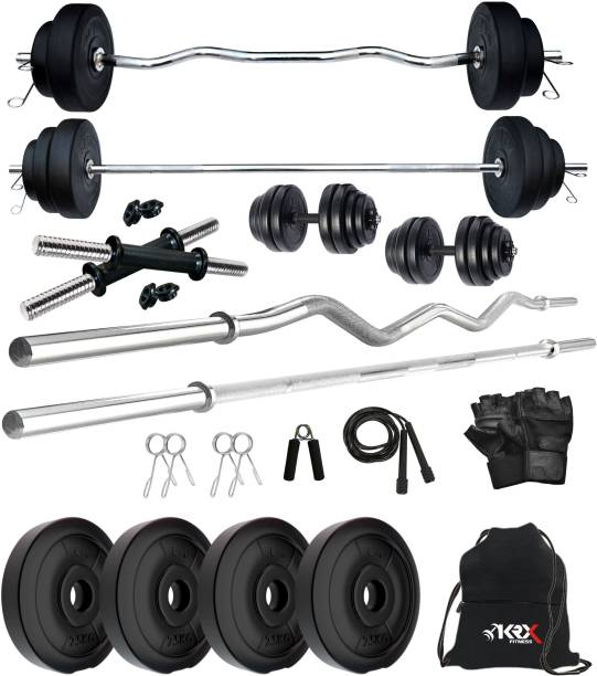 KRX 10 kg PVC 10 KG COMBO 343 with One 3 Ft Plain Rod & One 3 Ft Curl Rod and One Pair Dumbbell Rods with Gym Accessories Home Gym Combo