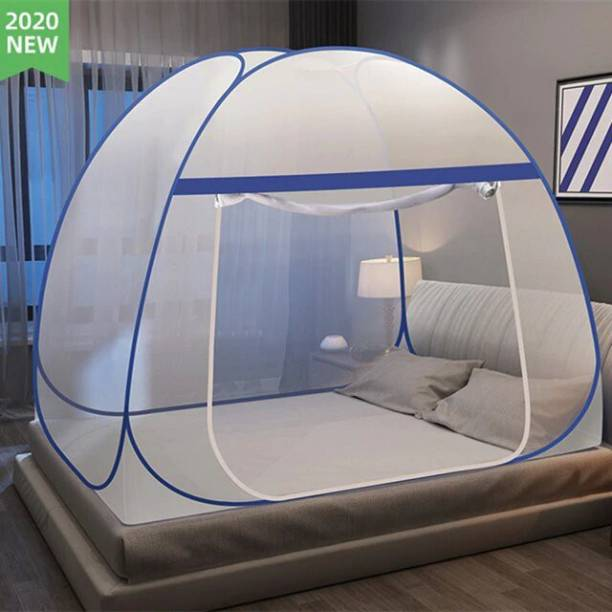 MouliK Polyester Adults Polyester Adults Pop-Up Foldable (DOUBLE BED KING SIZE) Mosquito Net Mosquito Net